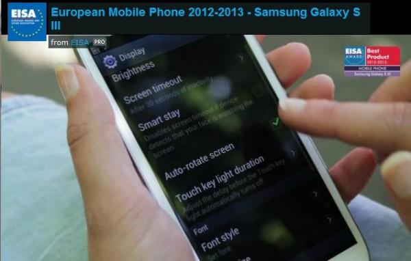 Samsung Galaxy S3 riceve il premio European Mobile Phone dell'EISA 2012