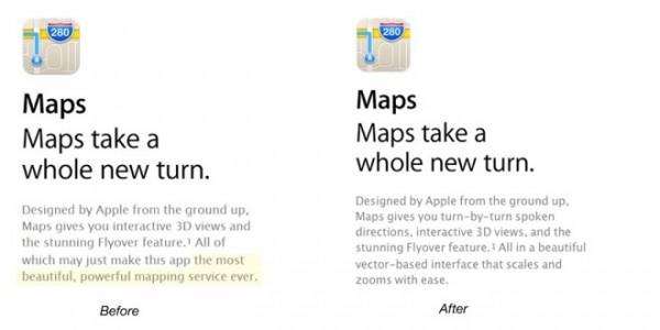 Apple cambia la descrizione dell'app Mappe di iOS 6