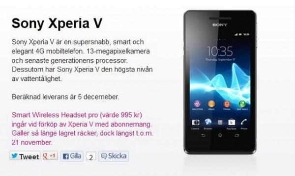 Sony Xperia V arriva in Svezia il prossimo 5 Dicembre