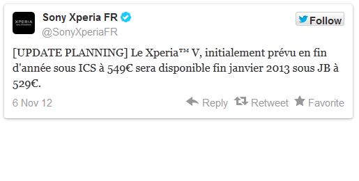 Sony Xperia V arriva a gennaio in Francia con Android Jelly Bean
