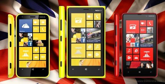 Nokia: disponibilità in UK dei nuovi Lumia 920, 820 e 620