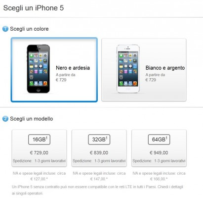Apple iPhone 5: disponibilità immediata per il nuovo melafonino