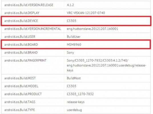Sony C5303 HuaShan: confermato con schermo HD e processore dual core