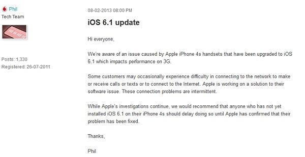 Vodafone suggerisce di non aggiornare l'iPhone 4S al nuovo iOS 6.1