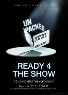 Samsung Galaxy S4: ufficiale l'annuncio il prossimo 14 Marzo a New York