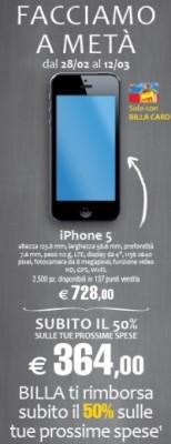 Apple iPhone 5: nuova promozione da Billa valida fino al 12 Marzo