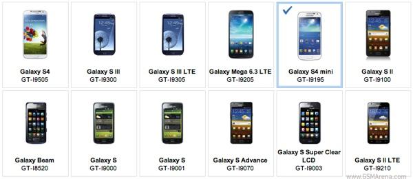 Samsung Galaxy S4 Mini compare nel sito web Samsung Apps