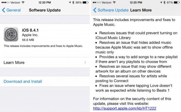 Apple iOS 8.4.1 download, ecco tutte le novità